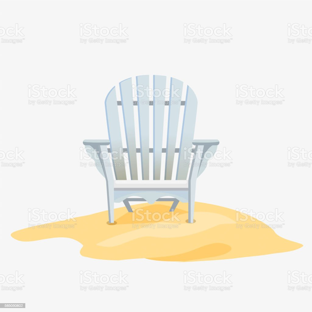 Adirondack chair standing on the yellow sand vector art illustration