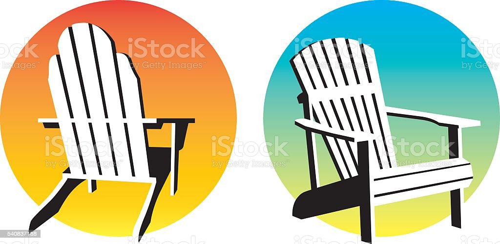 Adirondack Chair Sunset Graphics vector art illustration