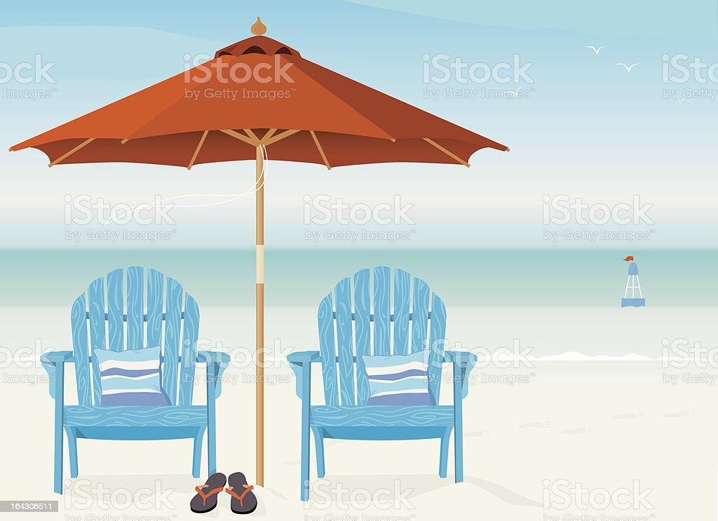 Adirondack Chairs at Beach vector art illustration