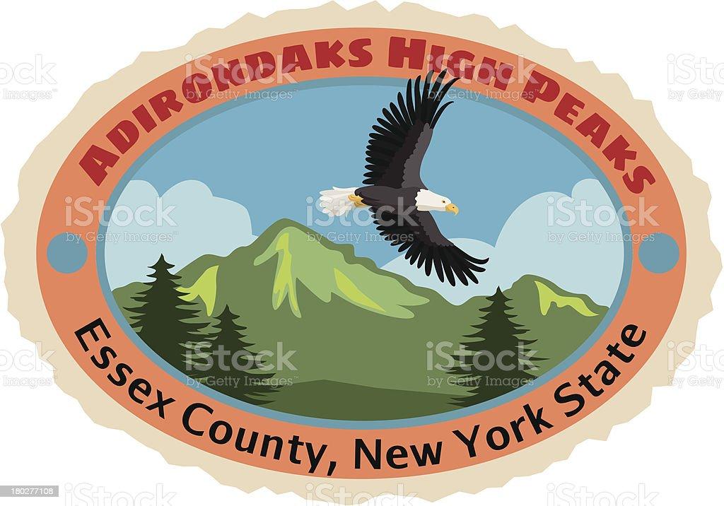 Adirondack mountains luggage label or travel sticker vector art illustration