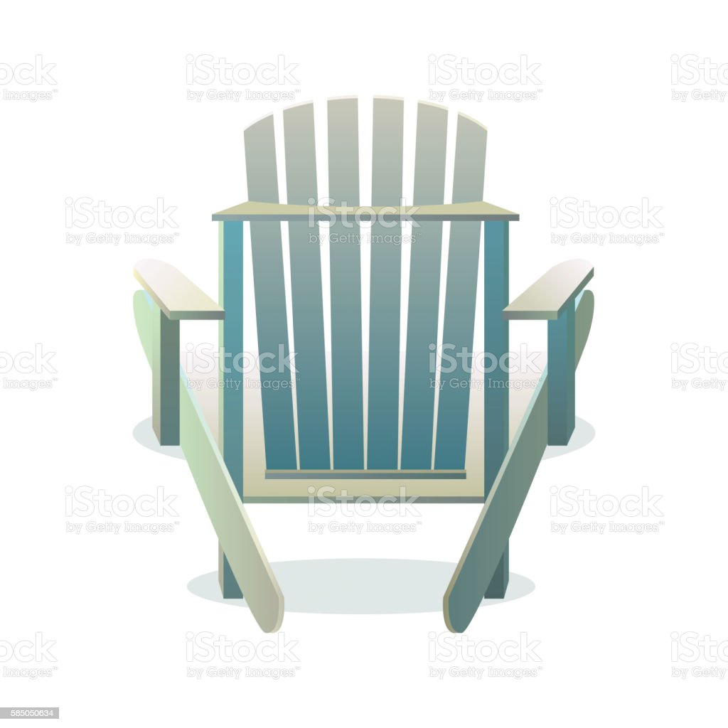 Adirondack wooden chair from the back vector art illustration