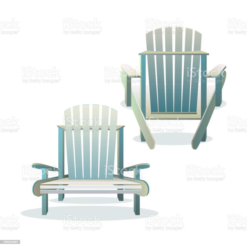 Adirondack wooden chair front and back vector art illustration
