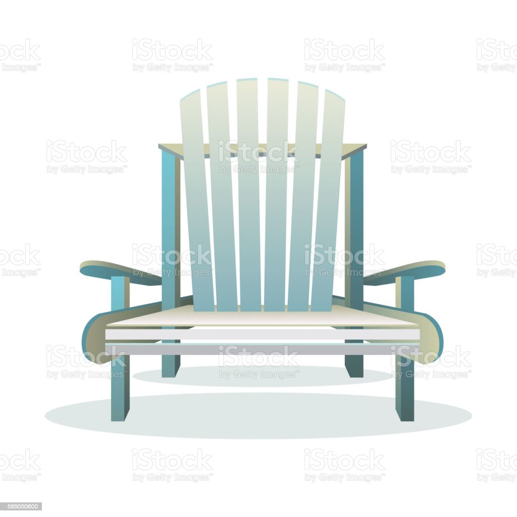 Adirondack wooden chair front vector art illustration