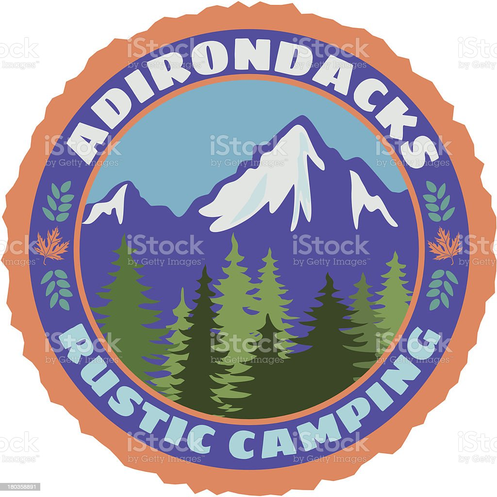 Adirondacks rustic camping vector art illustration