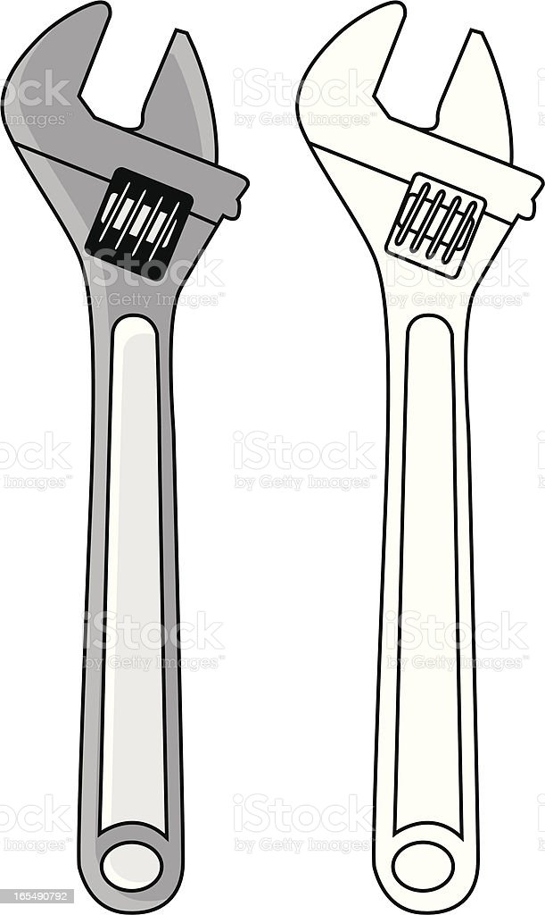 DIY Adjustable Wrench Outline & Coloured royalty-free stock vector art