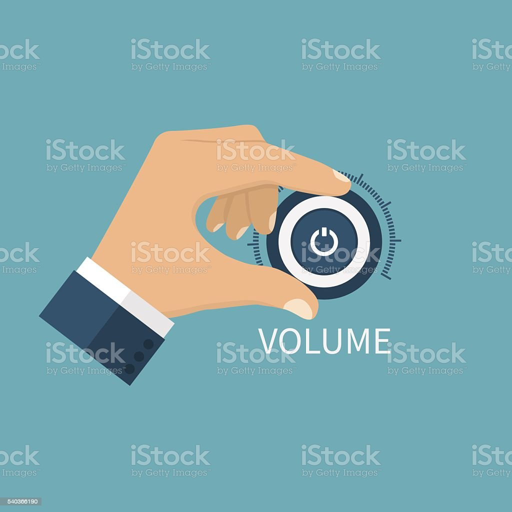 Adjusting volume. Control volume knob vector art illustration