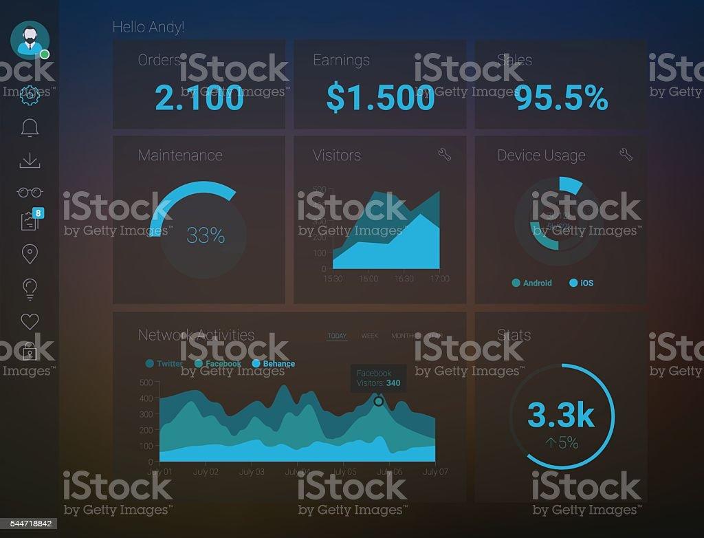 Admin App Dashboard vector art illustration