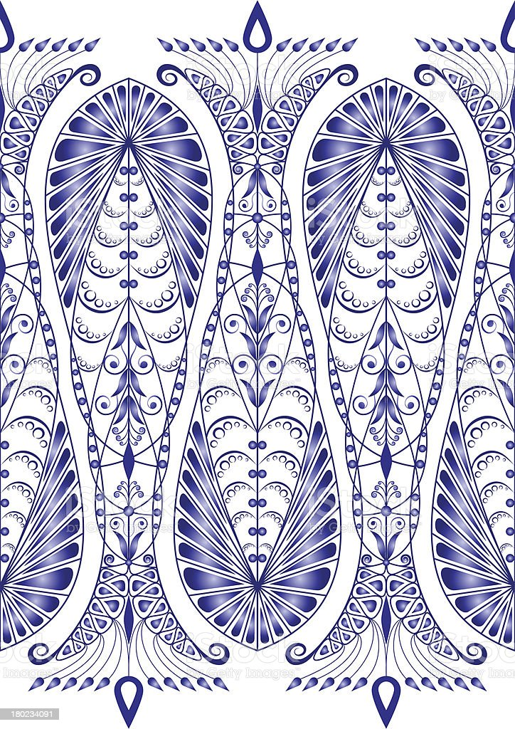 Admirable blue pattern on a white background. Seamless royalty-free stock vector art