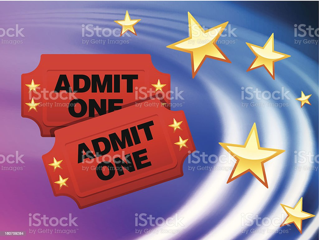 Admission Tickets on Abstract Wave Background royalty-free stock vector art