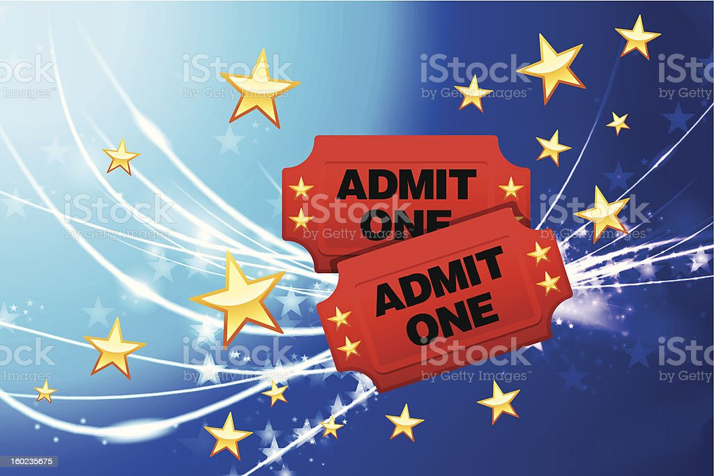 Admission Tickets on Fiber Optic Background with Stars royalty-free stock vector art