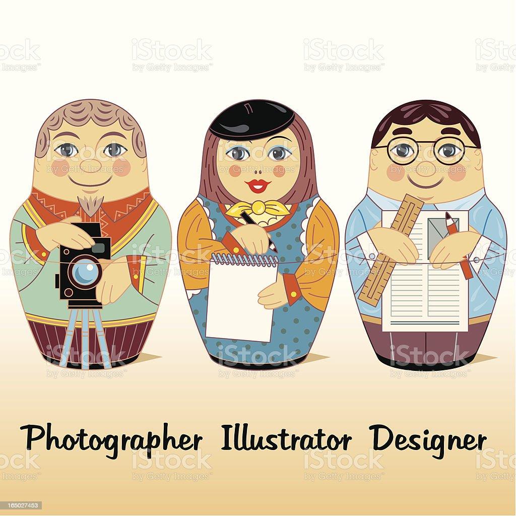 Adobe Russian Dolls vector art illustration