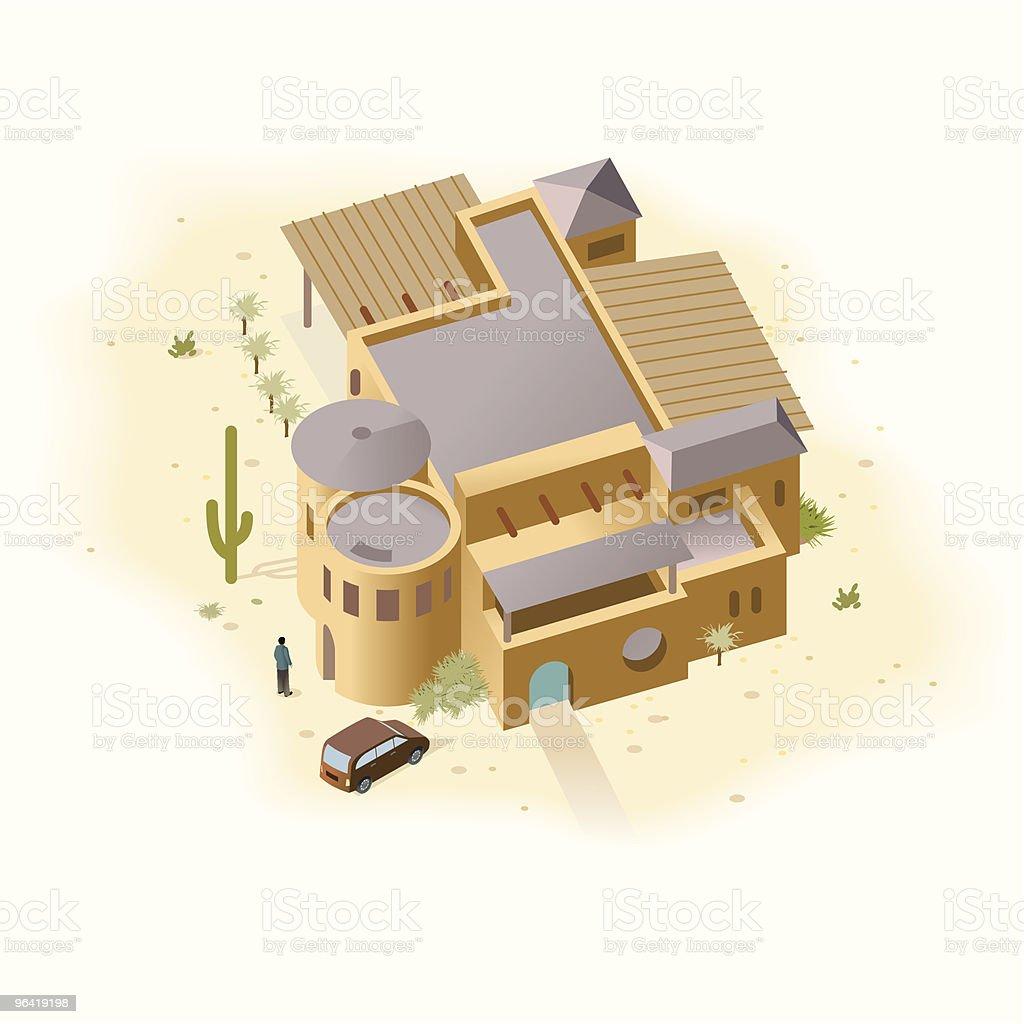 Adobe Sandstone House vector art illustration