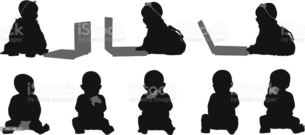 Adorable babies with laptops vector art illustration