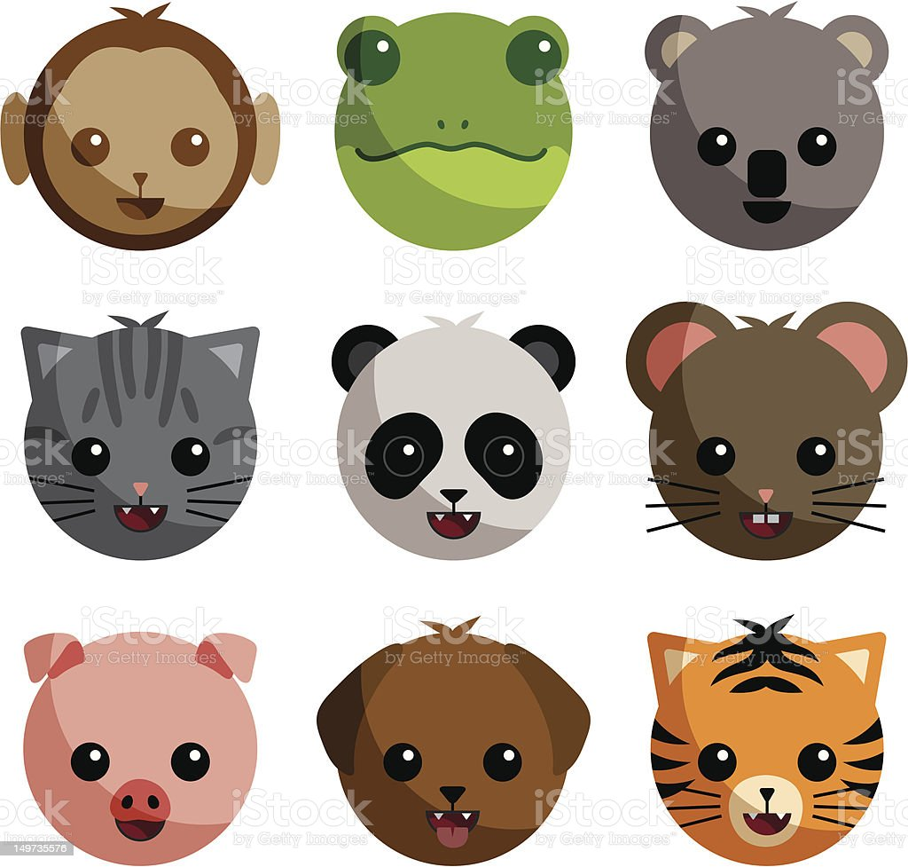 Adorable Baby Animals vector art illustration