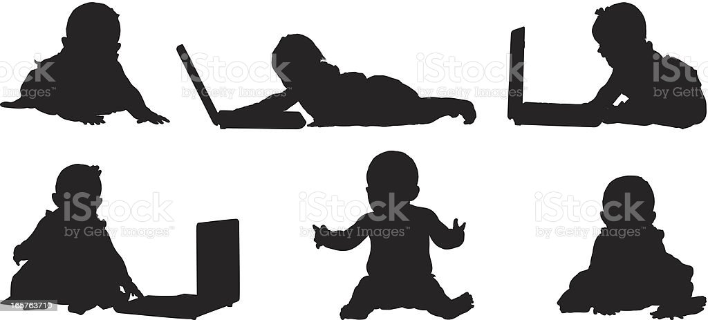 Adorable baby girls with laptops vector art illustration