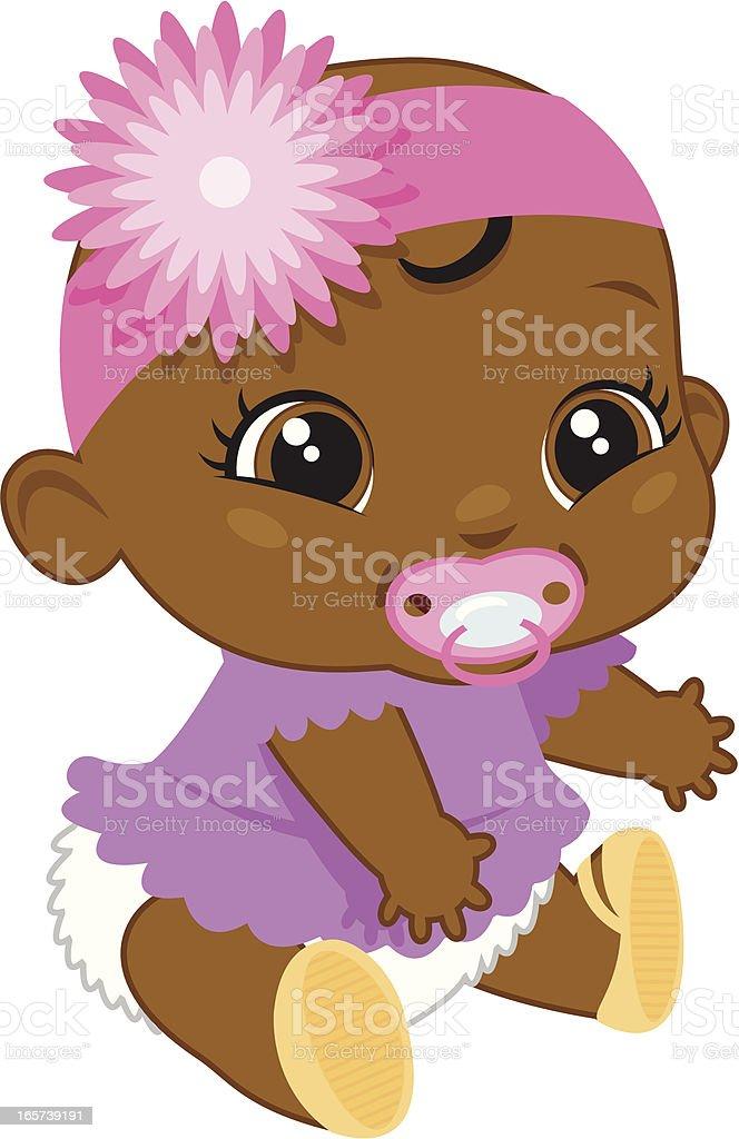 Adorable Black Baby Girl royalty-free stock vector art