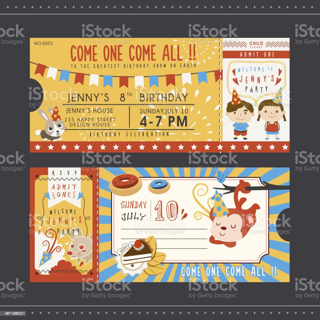 adorable cartoon birthday party invitation template vector art illustration