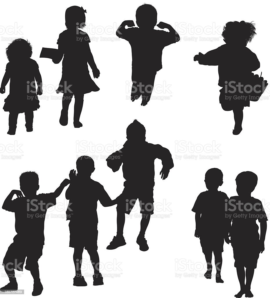Adorable children acting cute vector art illustration