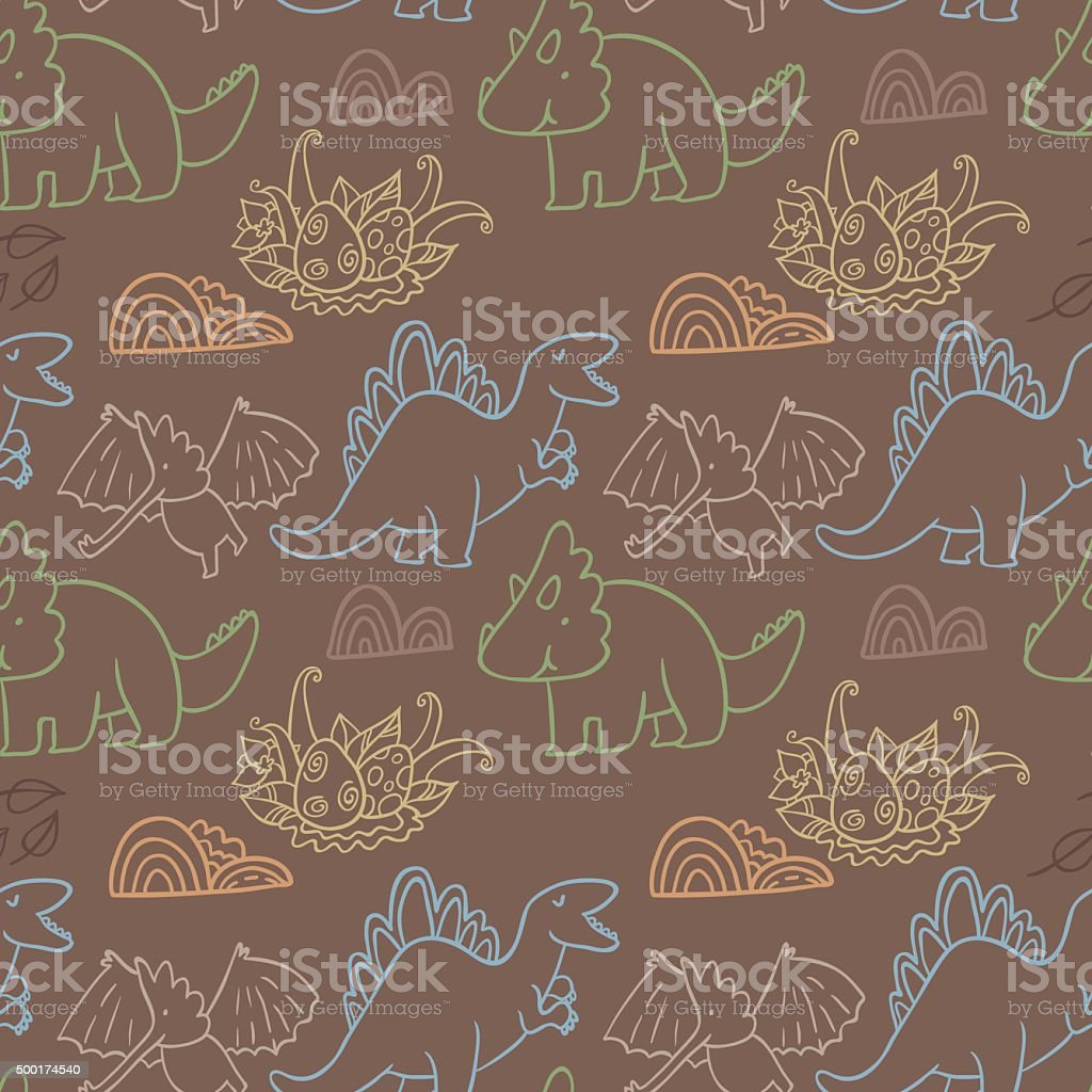 Adorable dinosaurs. Seamless pattern for wallpapers, web pages, scrapbook pages vector art illustration