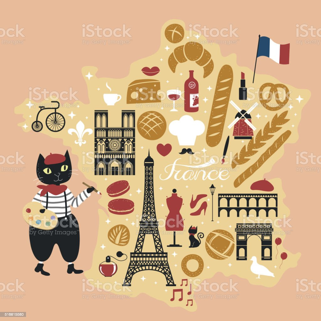 adorable French bread map vector art illustration