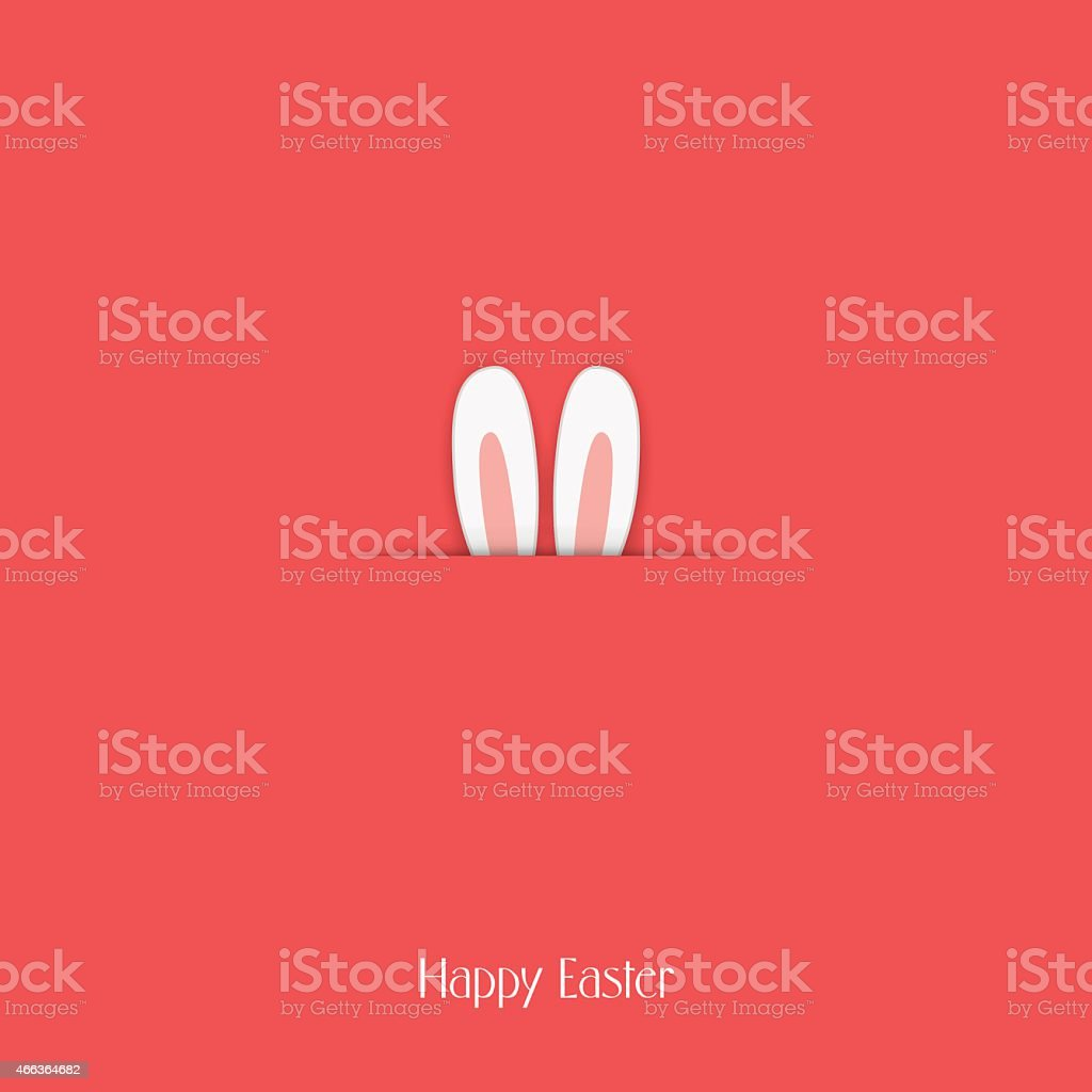 Adorable Happy Easter postcard template with bunny hiding and ears vector art illustration