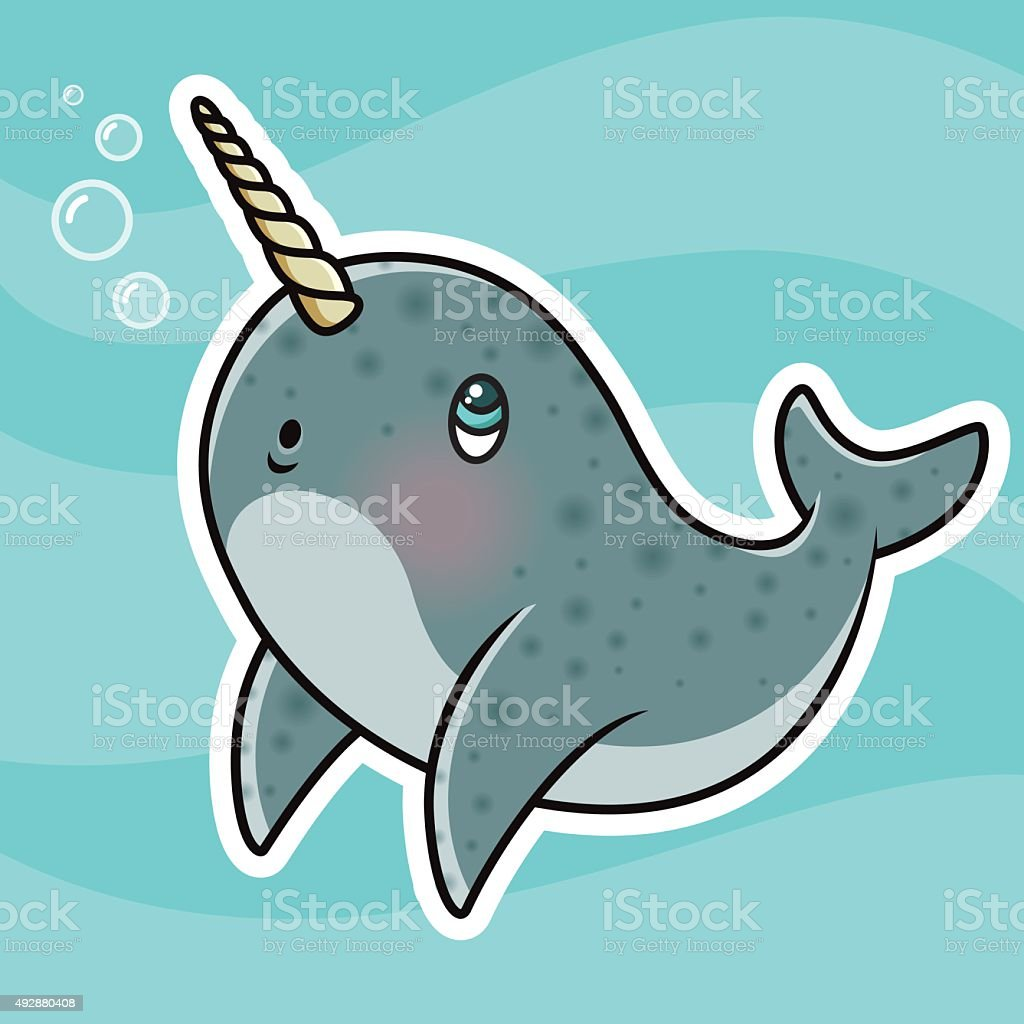 Adorable Kawaii Narwhal Character Blowing Bubbles vector art illustration