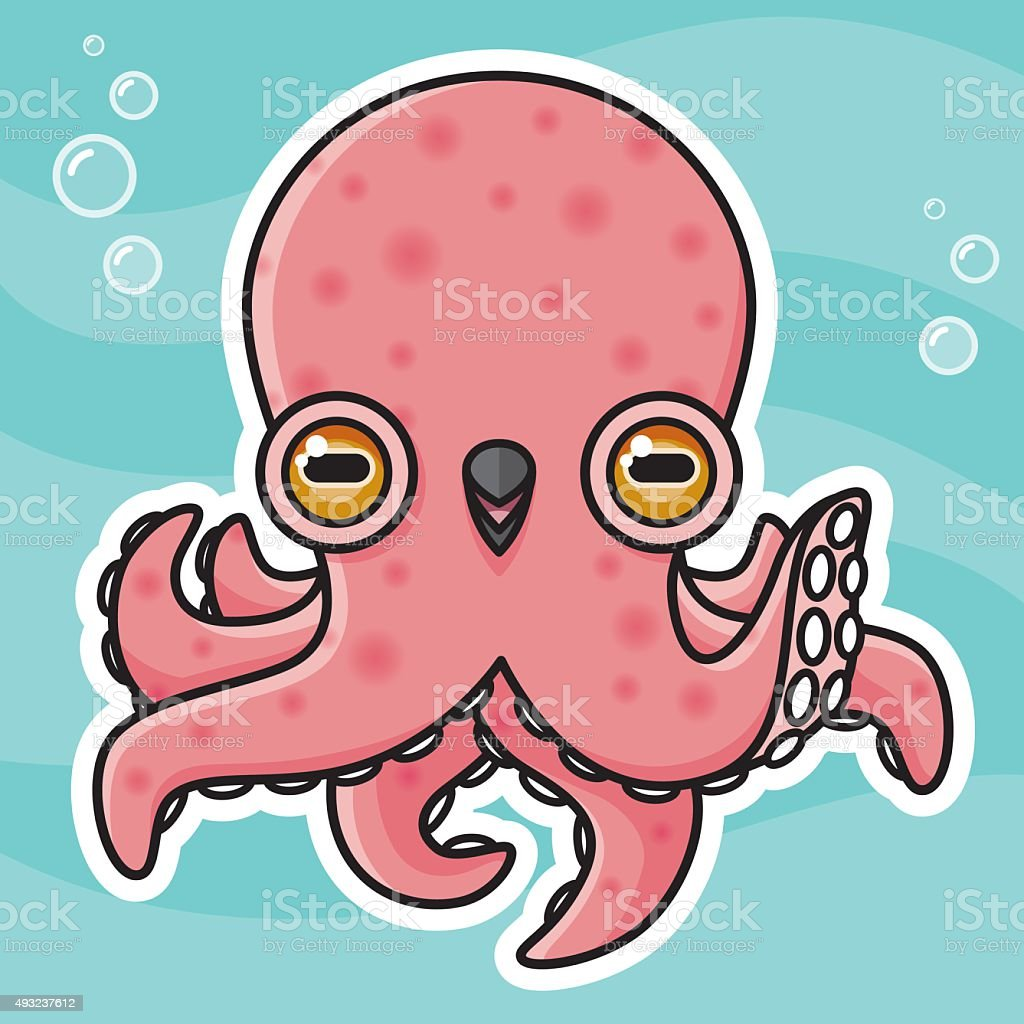 Adorable Kawaii Octopus Character Blowing Bubbles vector art illustration