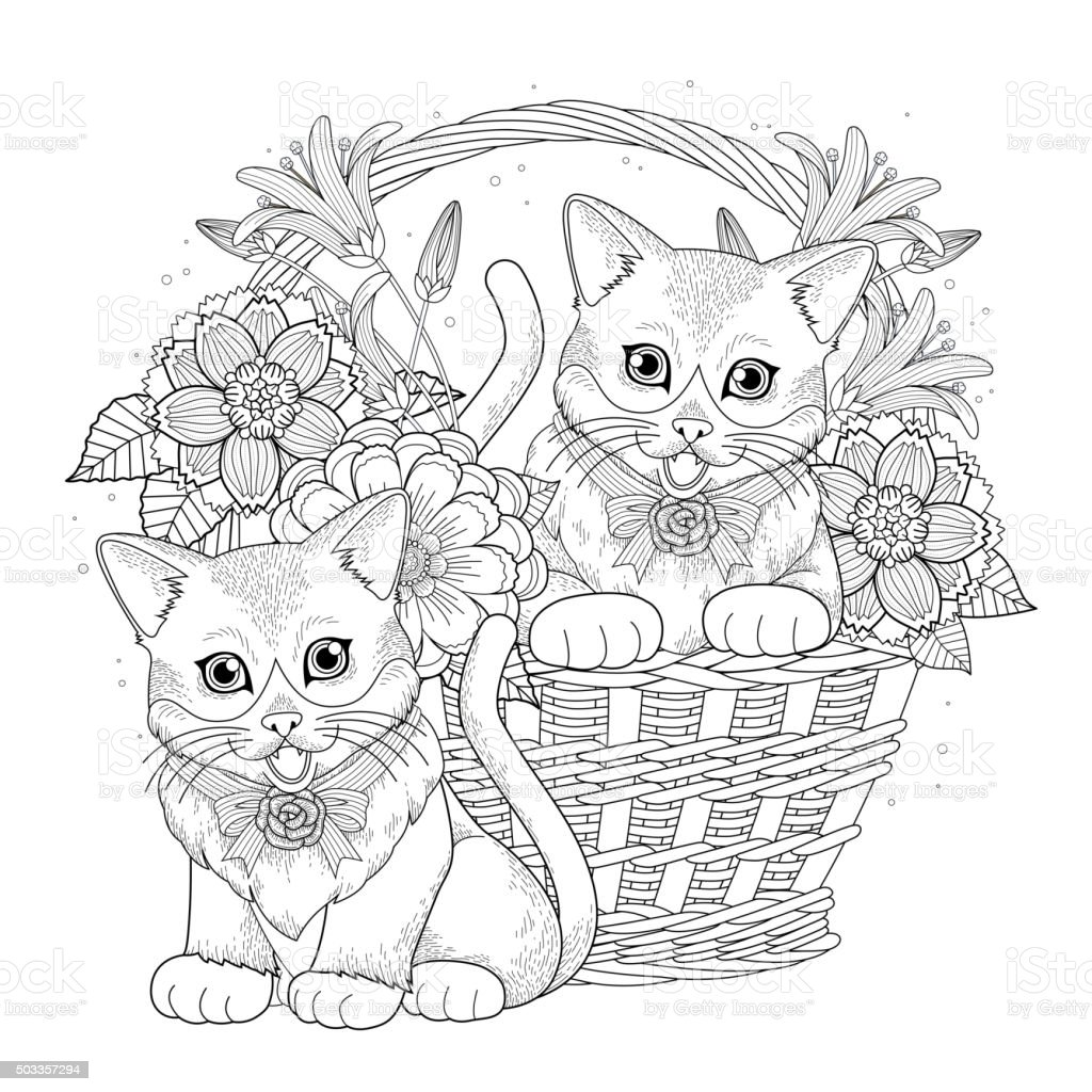 Adorable Kitty Coloring Page Royalty Free Stock Vector Art