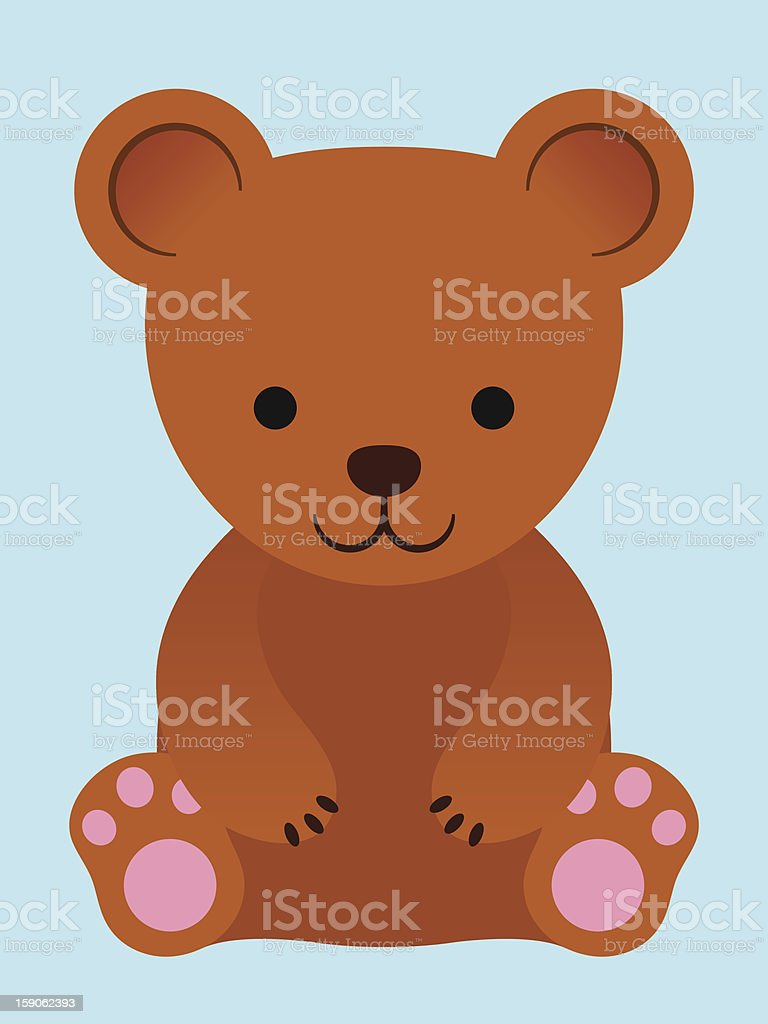 Adorable little brown teddy bear royalty-free stock vector art