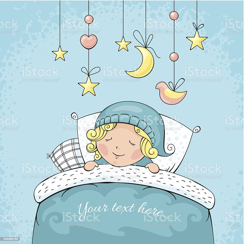 Adorable sleeping child royalty-free stock vector art