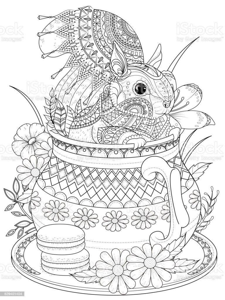 adorable squirrel coloring page stock vector art 529401404