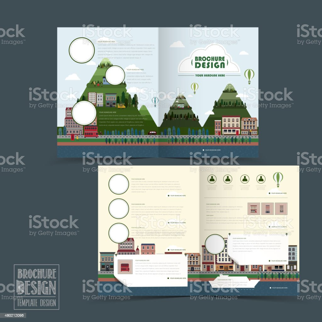 adorable town scenery half-fold brochure template vector art illustration