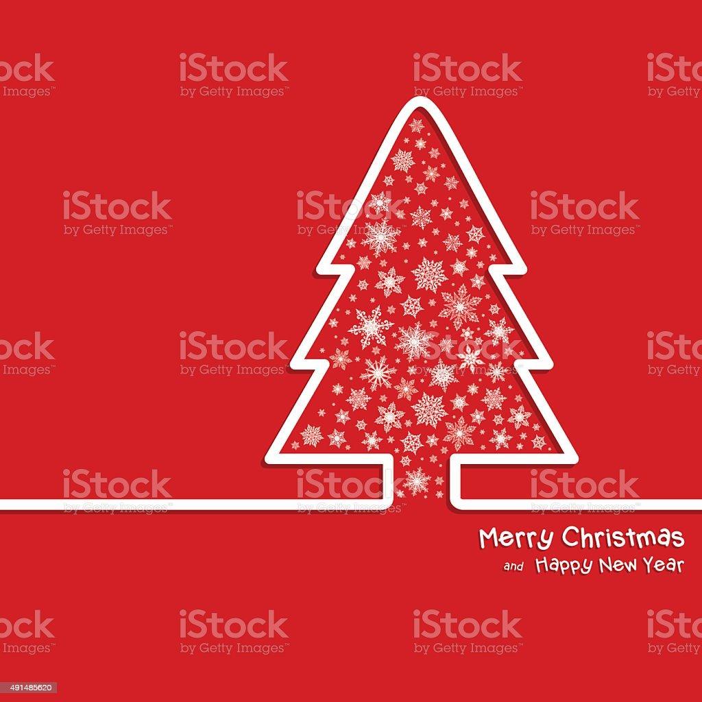Adstrat Christmas Tree and Snowflakes - Illustration vector art illustration