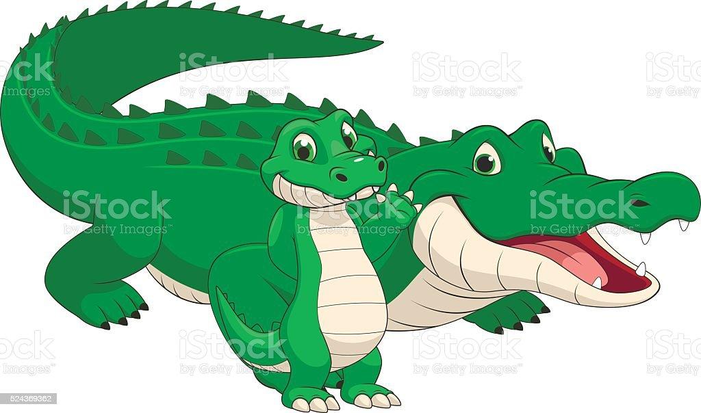 Adult and baby crocodile vector art illustration