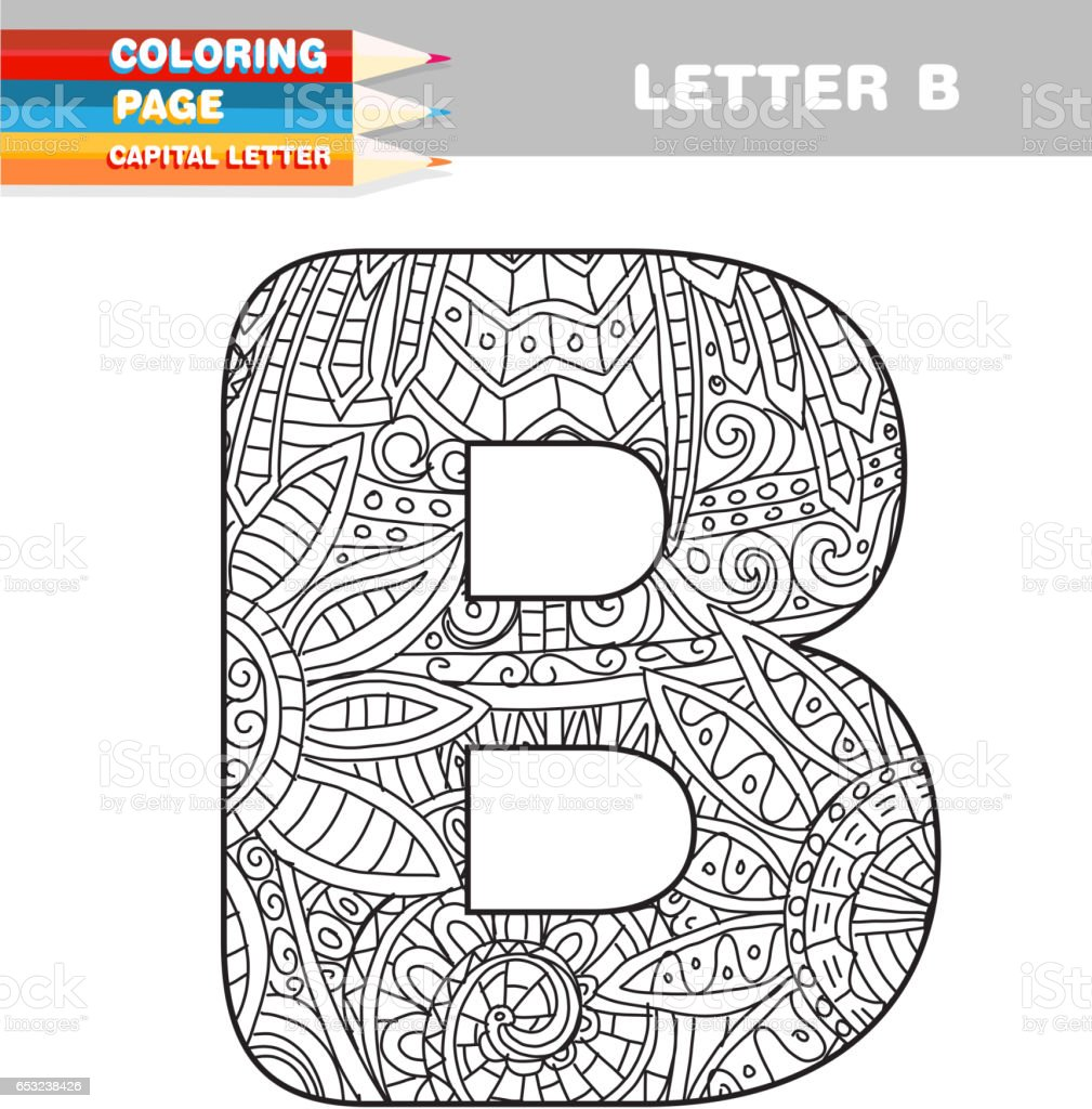 Coloring pictures for adults letters - Adult Coloring Book Capital Letters Hand Drawn Template Royalty Free Stock Vector Art