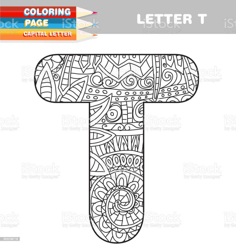 Adult Coloring book capital letters hand drawn template vector art illustration