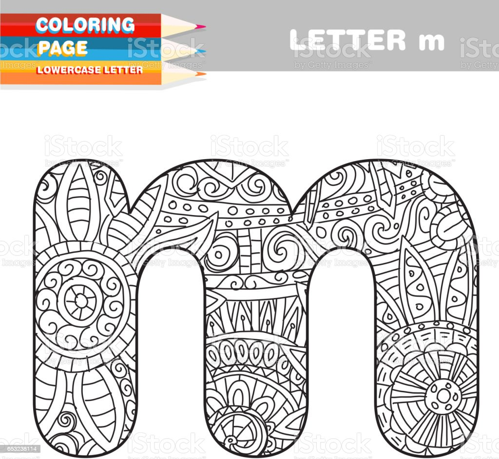 Adult Coloring book lower case letters hand drawn template vector art illustration