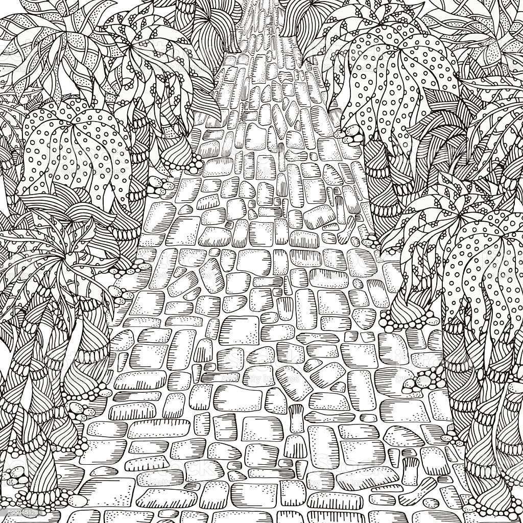 Adult coloring book page. Long road and palm trees. vector art illustration