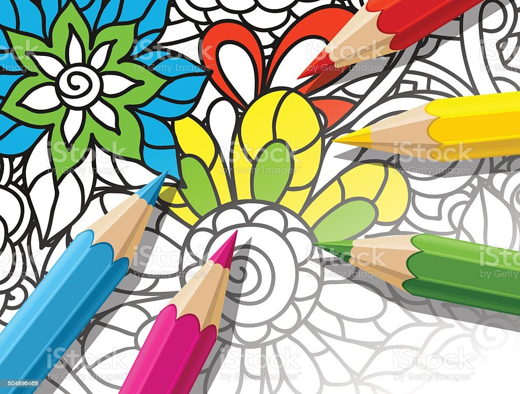 Adult coloring concept with pencils, printed pattern. Illustration of trend vector art illustration