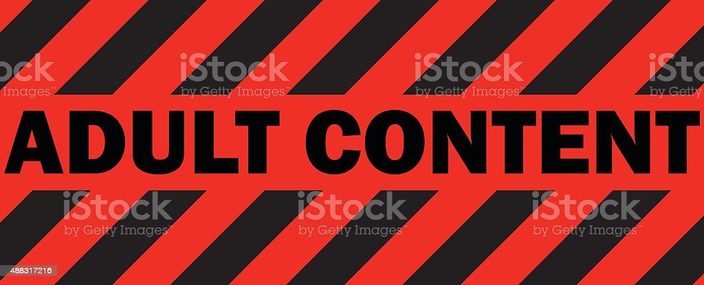 Adult Content Red Warning Tape Sign. vector art illustration