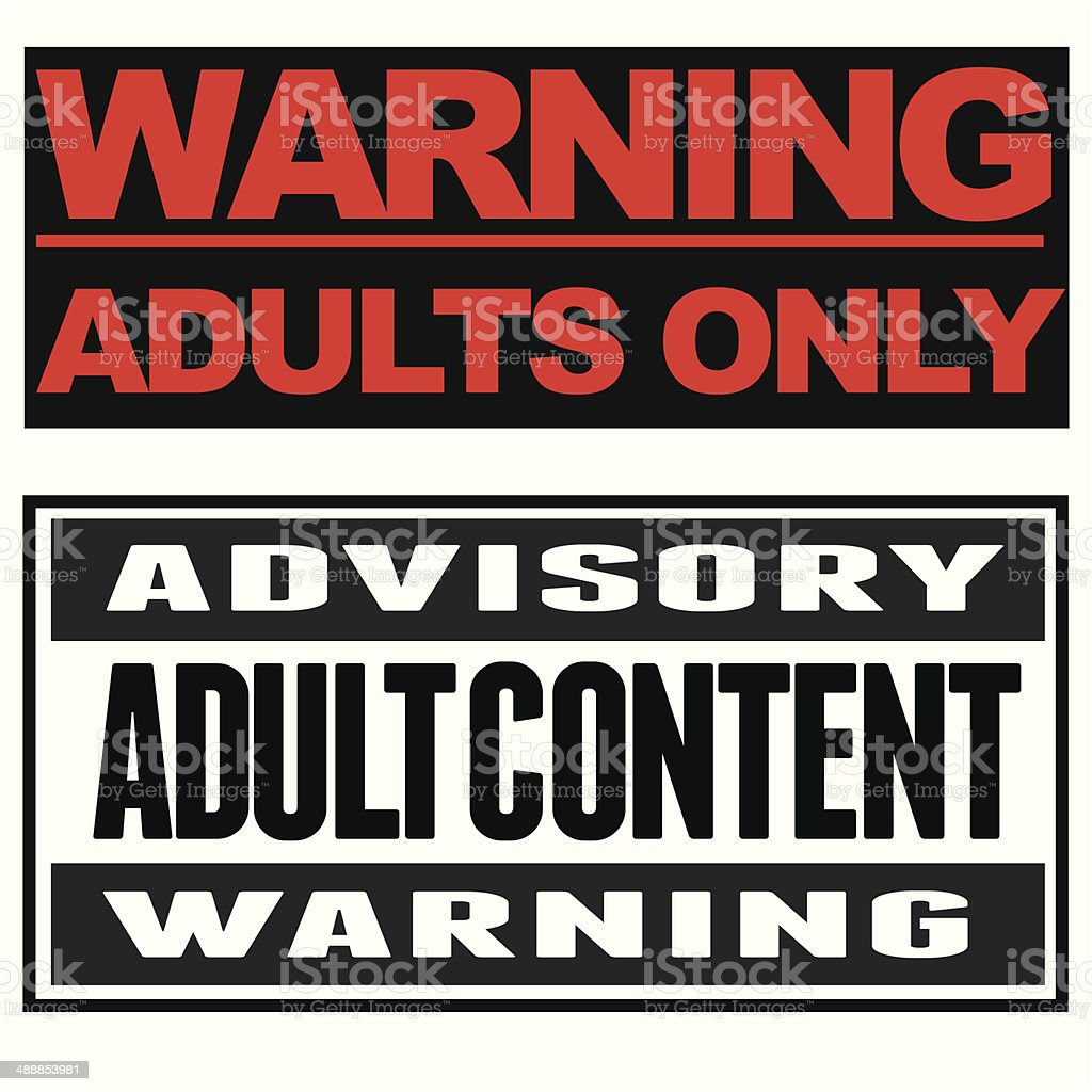 Adult Content Typographical Banners vector art illustration