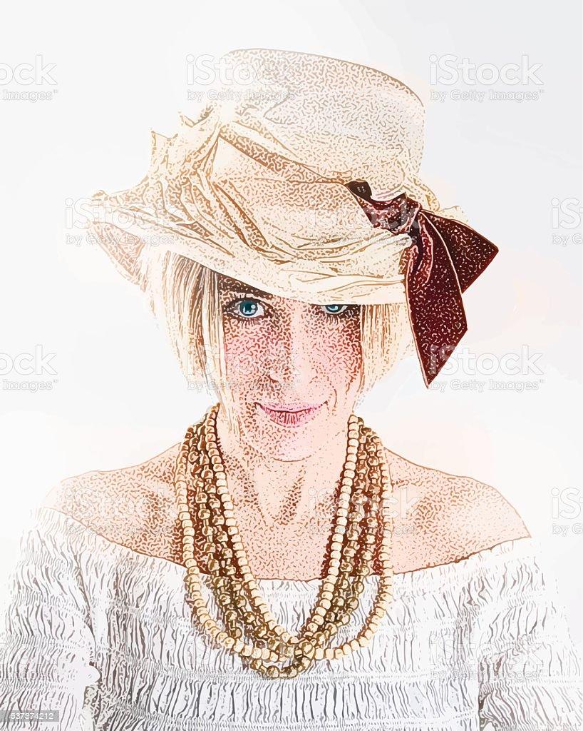 Adult hipster Woman wearing a boho flower hat vector art illustration