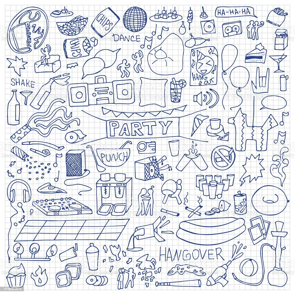 Adult Party Doodle Set vector art illustration