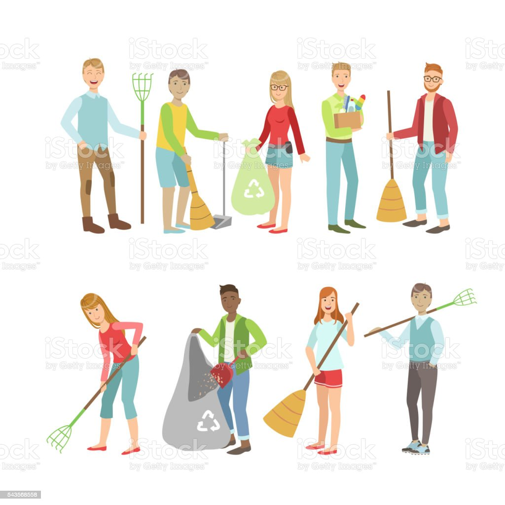 Adult People Cleaning Up Outdoors vector art illustration