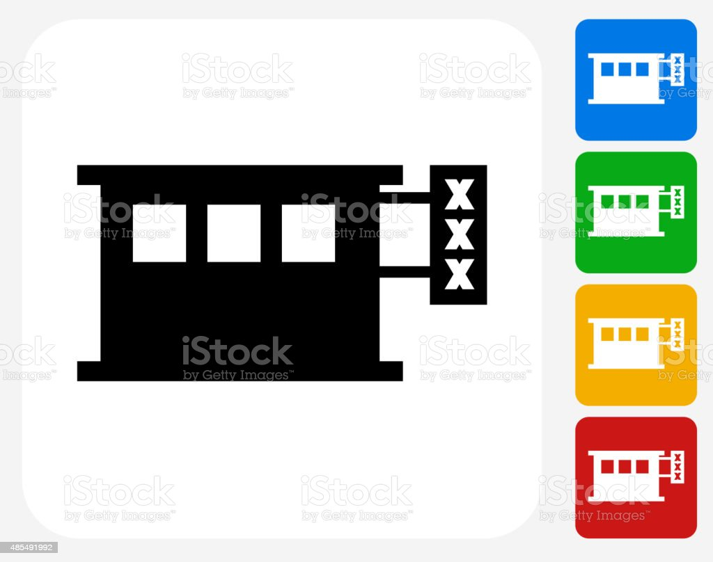 Adult Store Icon Flat Graphic Design vector art illustration