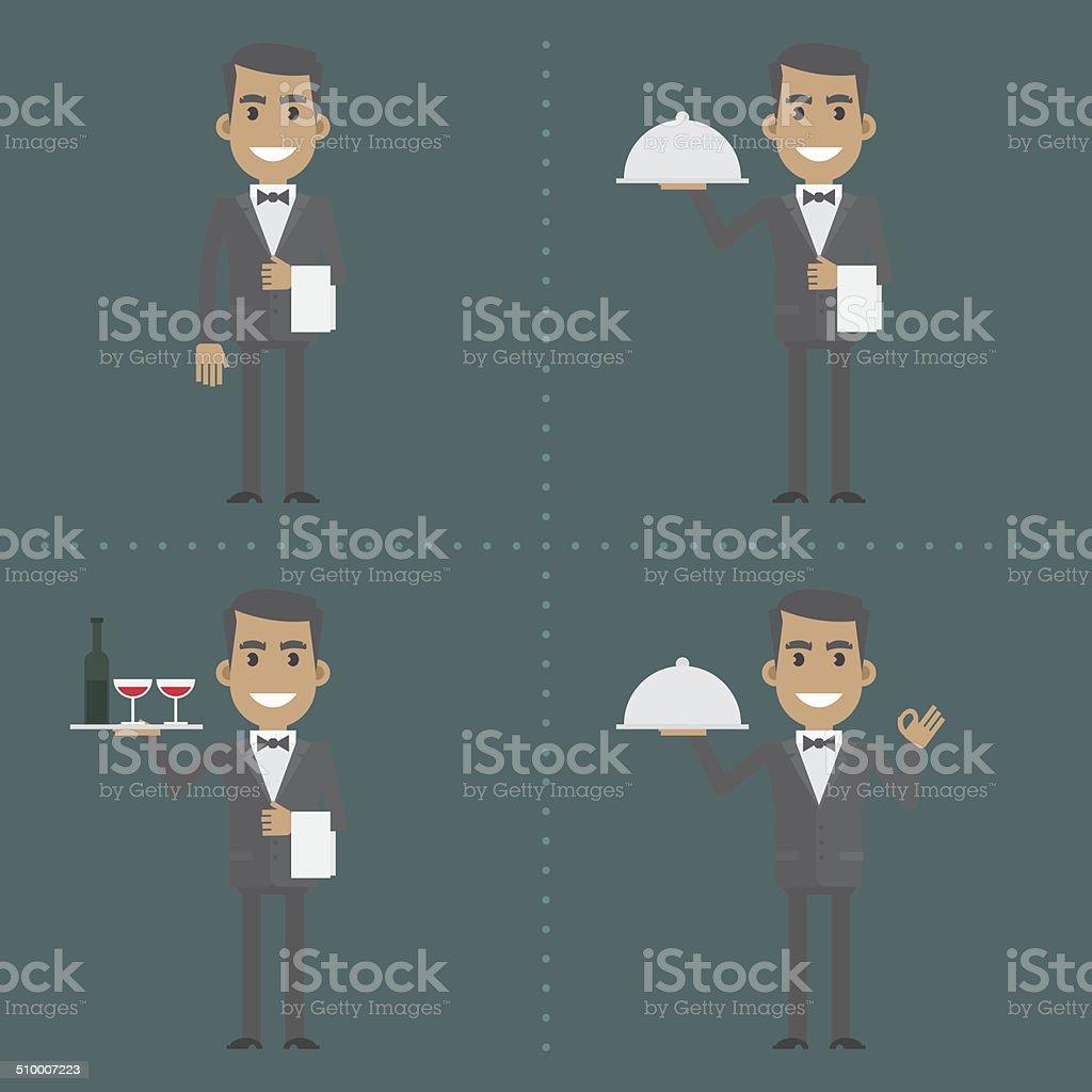 Adult waiter shows gestures and holds utensils vector art illustration