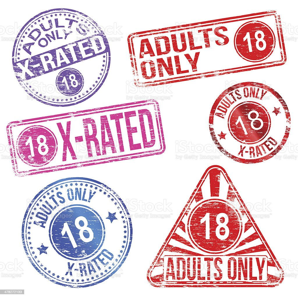 Adults Only Rubber Stamps royalty-free stock vector art