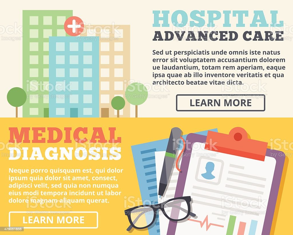 Advanced care hospital and medical diagnosis flat illustration concepts set vector art illustration