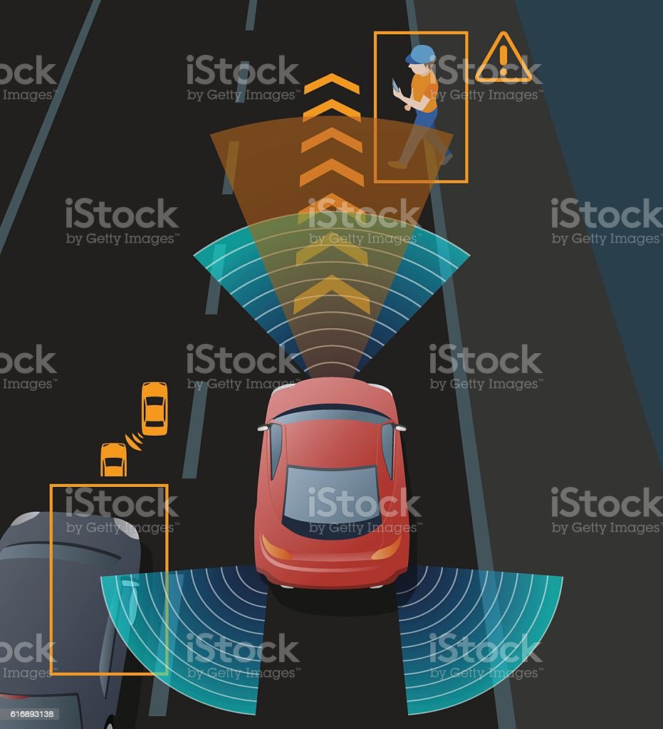 Advanced Driving Assistant System (ADAS), Blind Spot Monitoring vector art illustration