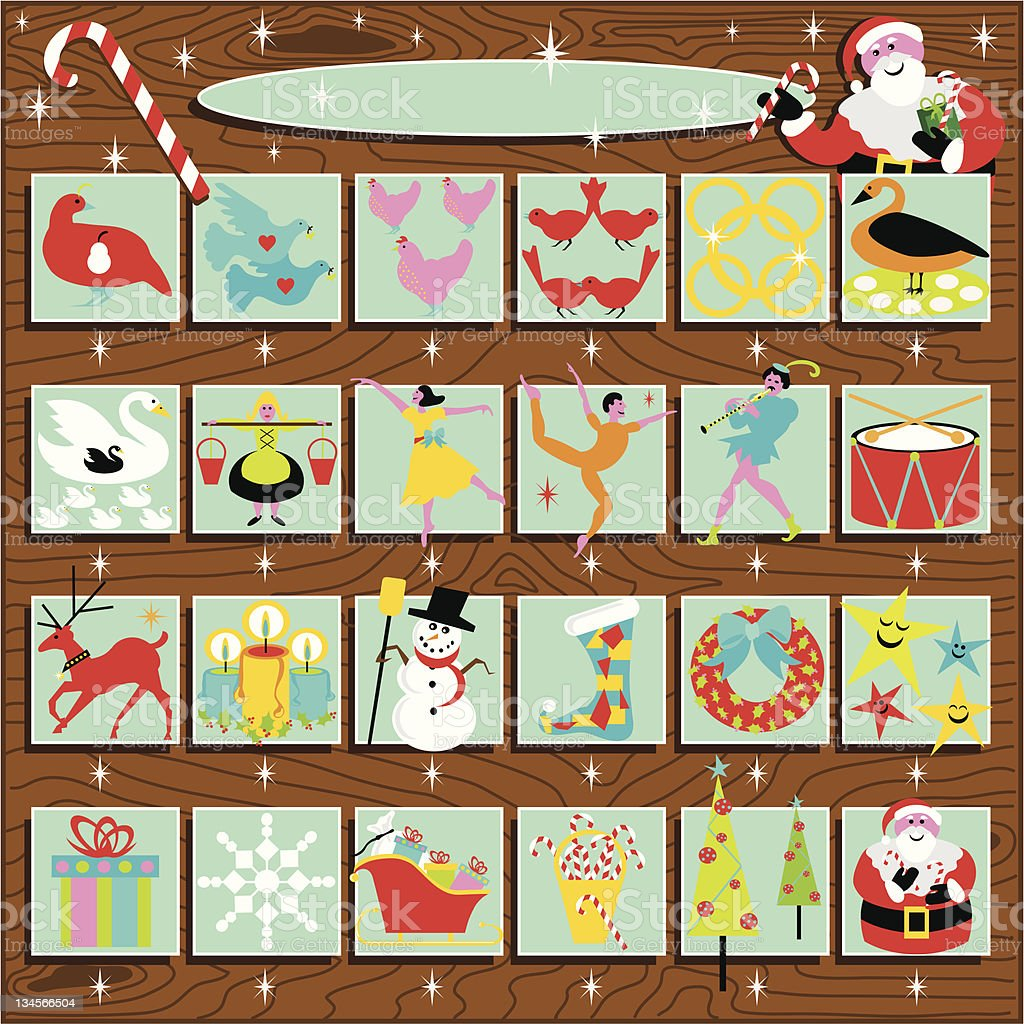 Advent Calendar and the 12 Days of Christmas royalty-free stock vector art